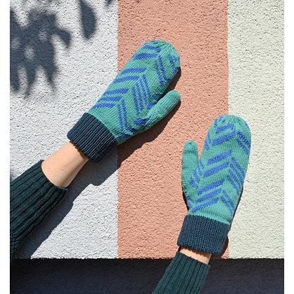 rękawiczki w zielone skosy