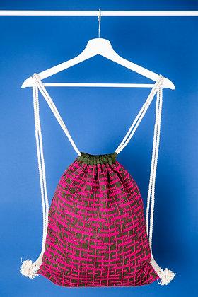 plecak khaki w różowe linie