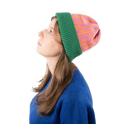 czapka w proste linie pomarańczowe