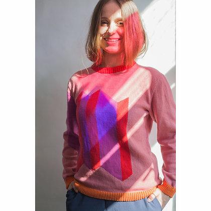 sweter w skośne prostokąty