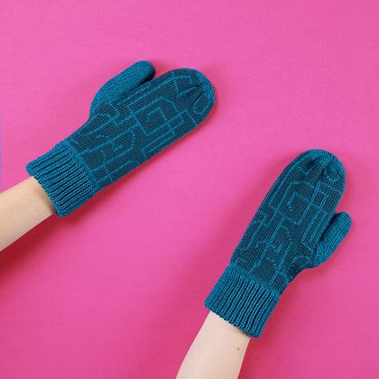 rękawiczki w zielone łamane linie