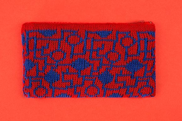 portmonetka czerwona w niebieski układ