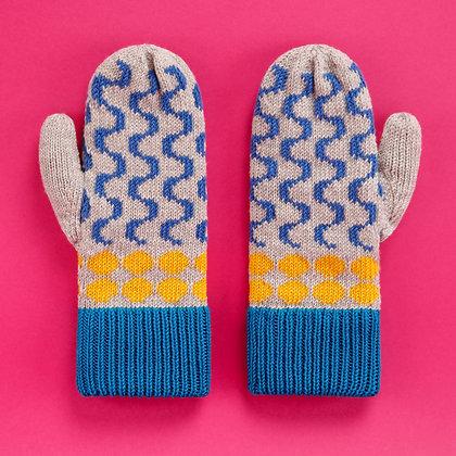 rękawiczki w niebieskie fale