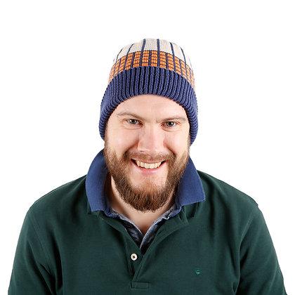 czapka w granatową kratkę