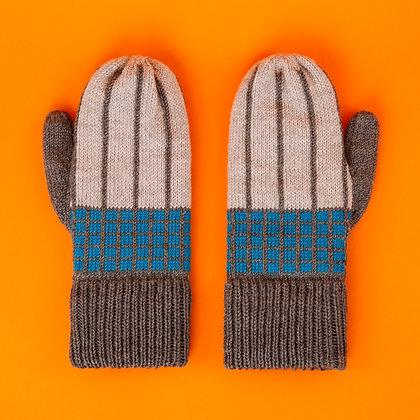 rękawiczki w szarą kratkę