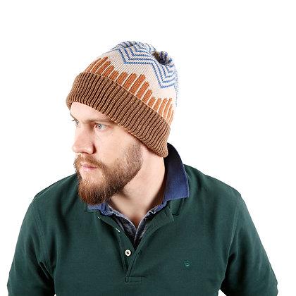 czapka w zygzaki niebieskie