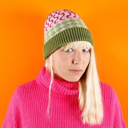 czapka w różowe fale