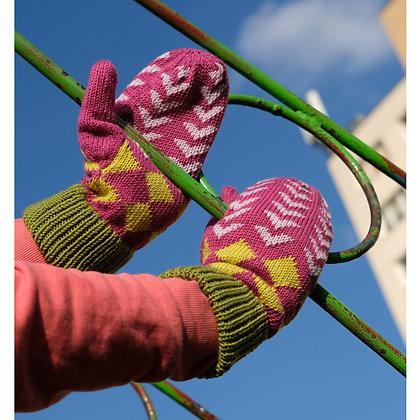 rękawiczki w zielone romby