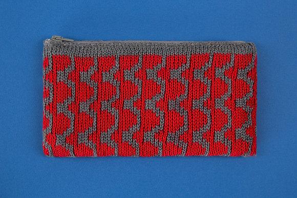 portmonetka szara w czerwone fale