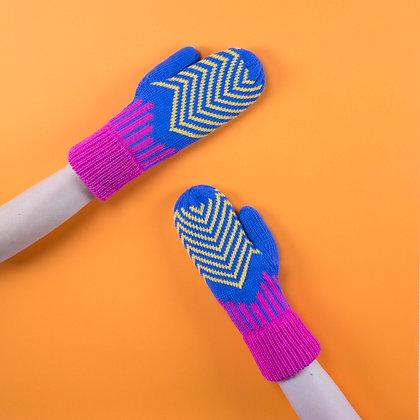 rękawiczki w żółte zygzaki