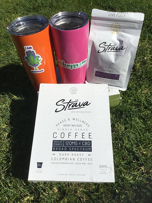 Strava CBD Coffee / YETI Mug Bundle - 12pk K-Cup Intro (4mg CBD per cup)