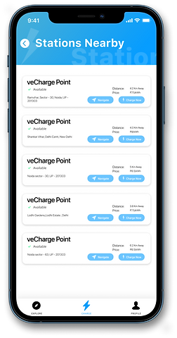 Locate Charging Stations nearby with the veCharge App.
