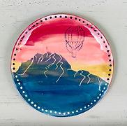 Schweizer Berge auf Keramikteller Sommer