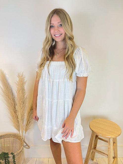 Off The Shoulder Tier Linen Dress