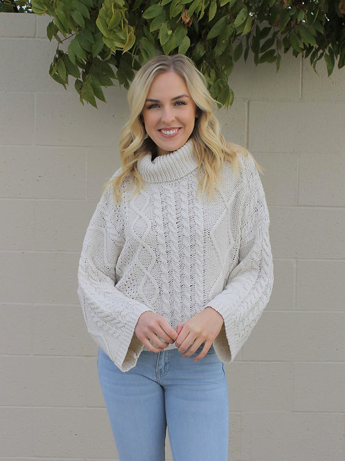 Cable Turtleneck Crop Sweater