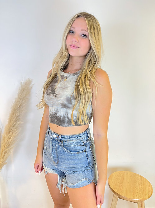 Ribbed Tie Dye Cropped Top