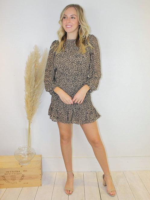 Cheetah Print Smocked Dress