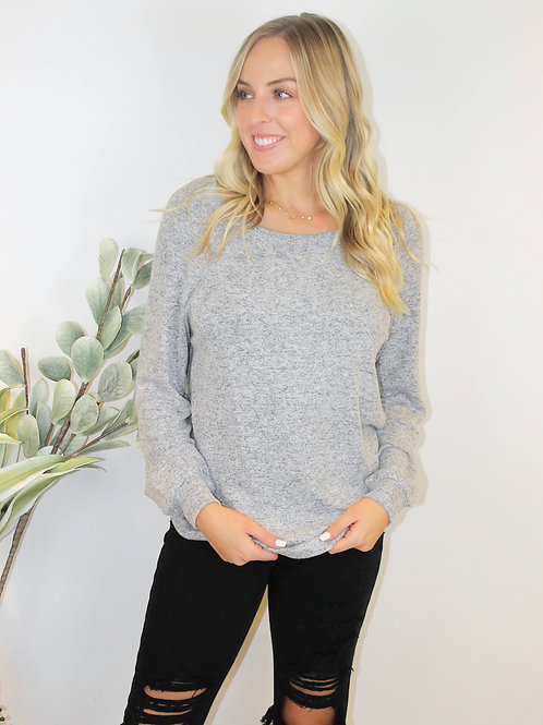 Long Sleeve 2 Button Brush Pullover