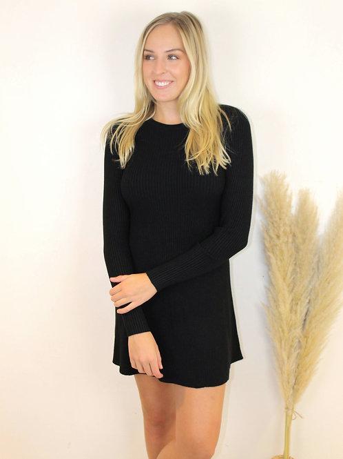 Long Sleeve Ribbed Sweater Dress