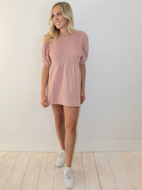 Balloon Sleeve Mini Dress