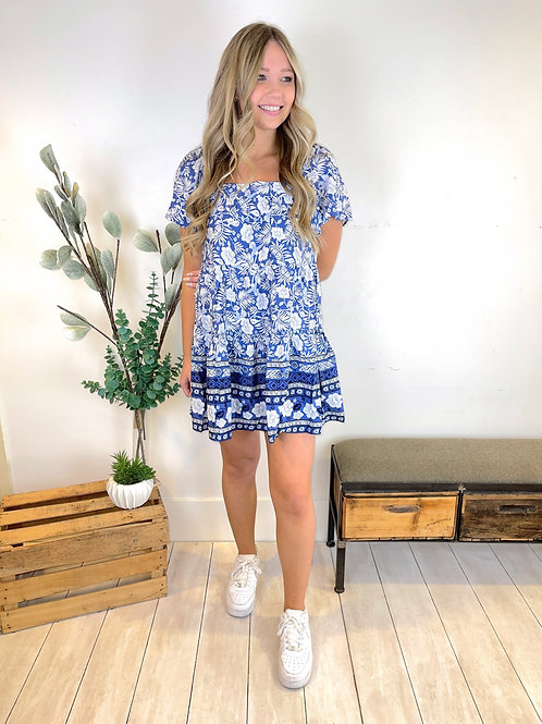 Short Sleeve Border Print Dress