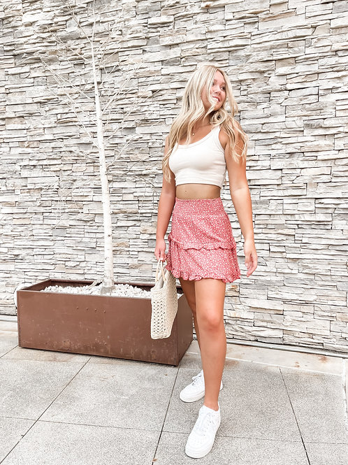 Floral Ruffle Tier Mini Skirt