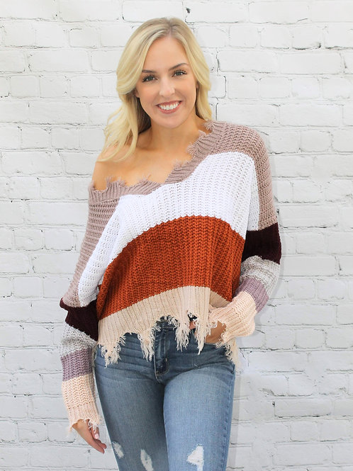 Color Blocked Distressed Sweater