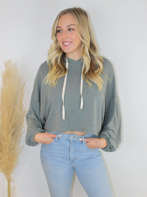 French Terry Cropped Hoodie