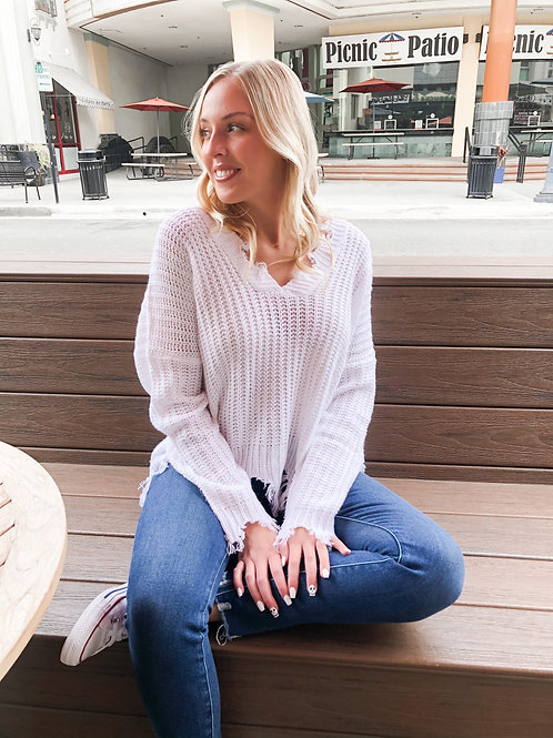 Solid Distressed Sweater