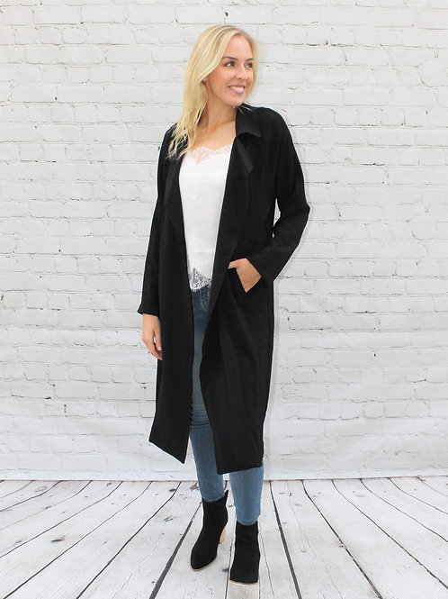 Textured Flowy Trench Coat