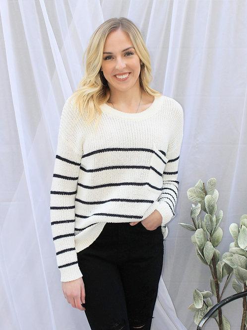 Striped Pocket Sweater