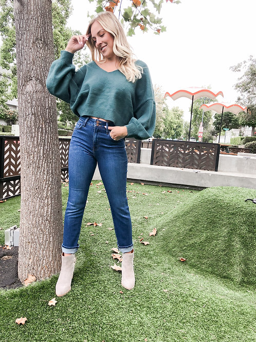 V Neck Cropped Balloon Sleeve Sweater