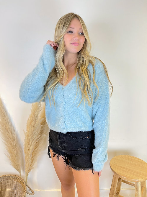 Mohair V Neck Cropped Cardigan