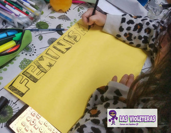 Elaborando nuestras pancartas. Taller.