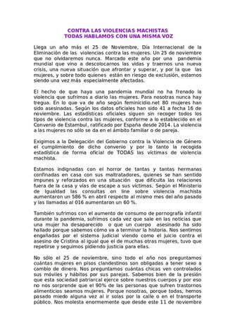 25N. Contra las Violencias machistas. Comunicado regional.