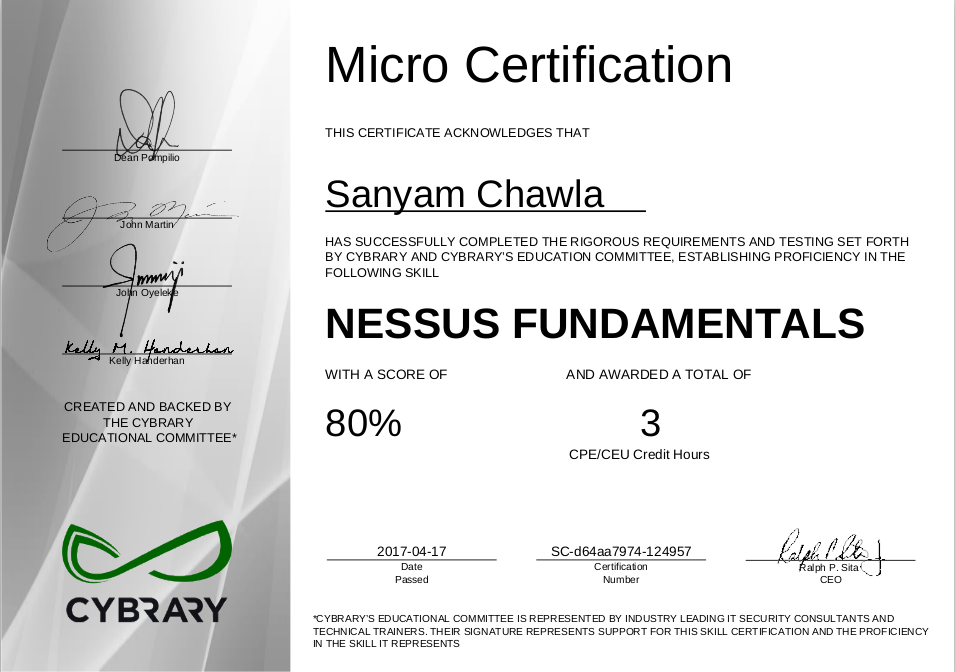 Cybrary Nessus Certificate
