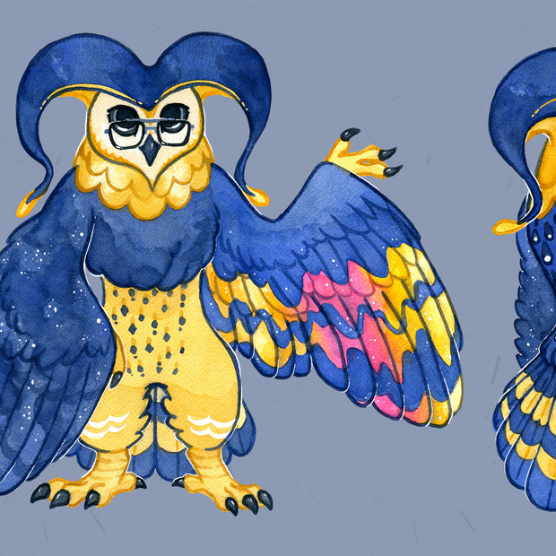Character design for client, combining elements of barn owls, night skies and jesters. 2020.