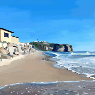 Painting study of beach, 2020