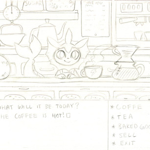 Initial sketch to prepare for a full illustration