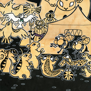 Panel of Taxicat comic. Watercolor and ink.