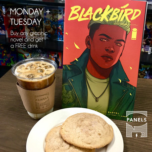 Promotional graphic for Panels Comic Book Coffee Bar, 2018