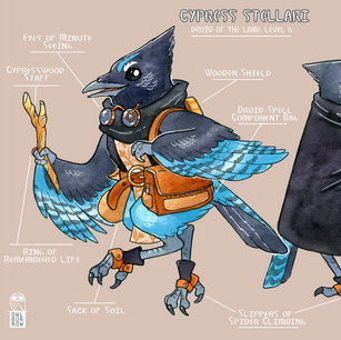 Character design based on a Steller's Jay, 2020