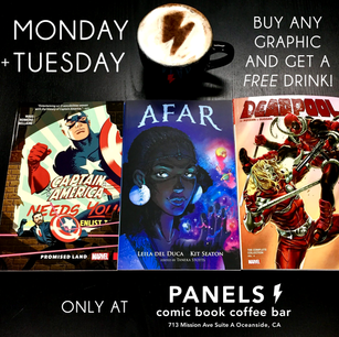 Promotional graphic for Panels Comic Book Coffee Bar, 2019