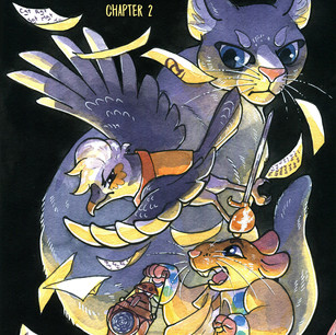 Cover for Chapter 2 of Taxicat. Watercolor and ink.
