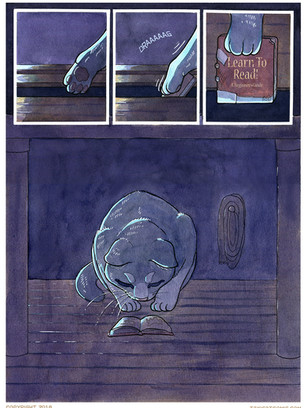 Page of Taxicat comic. Watercolor, ink, and Photoshop.