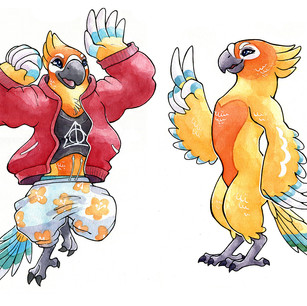 Character design and development.  Watercolor and ink.