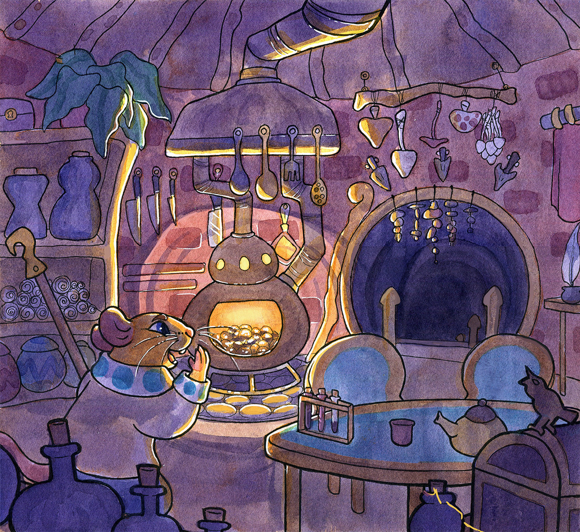 A panel from Taxicat, showing the interior of the protagonist's home
