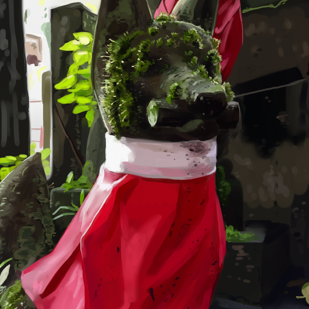 Painting study of a guardian fox statue at the Fushimi Inari shrine in Japan