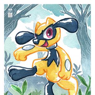 Watercolor image of Riolu, 2020