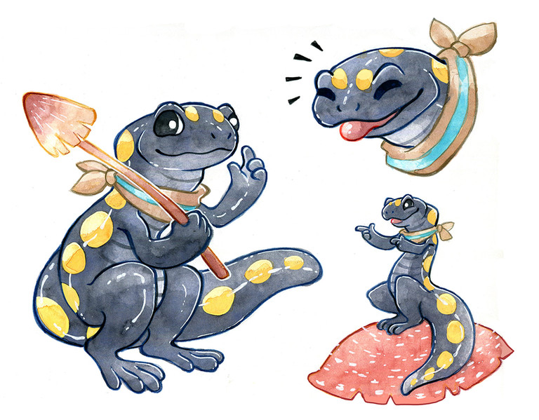 Character design for Taxicat of a spotted salamander